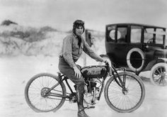 Circa 1920. Herbert McBride, who recently broke the world's motorcycle record for amateurs on his Indian.  His time was 105:24 miles per hour, which beats the old professional speed record. — Image by © Bettmann.