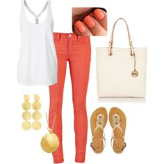 white, coral, gold summer outfit