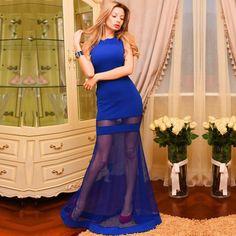 2016 summer women fsshion patchwork long dress sexy & club sheath sleeveless tank o-neck floor-length with lace - Ali-World Ali-World