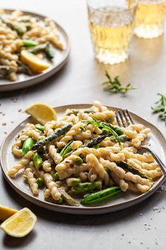 Creamy Lemon Asparagus Pasta - Vegan with GF Option - Crumbs Caramel Vegan Asparagus Recipes, Lemon Asparagus, Asparagus Pasta, Lemon Pasta, Vegetarian Recipes, Healthy Recipes, Healthy Meals, Healthy Food, Vegan Parmesan