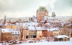 View top-quality stock photos of Quebec City Winter Skyline With Chateau Frontenac. Find premium, high-resolution stock photography at Getty Images. Winter Travel, Holiday Travel, Christmas Vacation, Quebec City Christmas, Quebec Winter, Cozy Christmas, Christmas Photos, Christmas 2019, Xmas