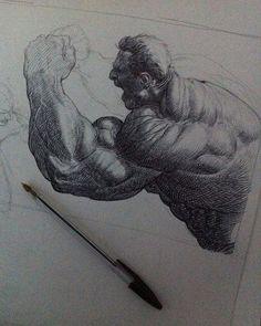 Hulk for inktober 2016 by Riccardo Federici #hulk #marvel #inktober #riccardofederici #federici #ink #bicpenart