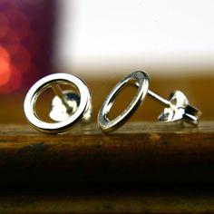8mm Tiny silver stud earrings minimalist circle post