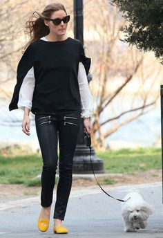 Olivia Palermo wearing Tom Ford Anouk Sunglasses Paige Edgemont Ultra Skinny Jeans ZARA Blouse With Embroidered Front SchoShoes Milano Helene Flats  New York City April 9 2013