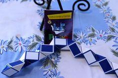 Vtg Snake Cube Rubiks Cube Blue White Toy Puzzles Twist Brain Teaser