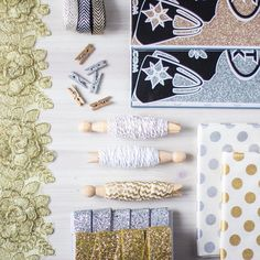 We have all these beautiful sparkly bits in the shop now. Altogether they make the perfect gift wrapping kit!  Loving this #flatlay business so much at the mo!