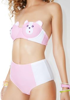Lazy Oaf Bear Boob Bikini Bottoms yr our favorite honeypot, bb~ This bear-y adorable bikini bottom features a pinky construction with white hip contrast panels, high waisted cut, and medium coverage~