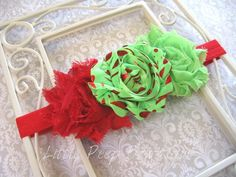 Christmas headband Red lime green for girl Shabby flower baby headband