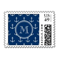 Navy Blue White Anchors Pattern, Your Monogram Stamp This site is will advise you where to buyHow to          	Navy Blue White Anchors Pattern, Your Monogram Stamp lowest price Fast Shipping and save your money Now!!...