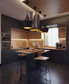 Black kitchen for the artist from Kharkov