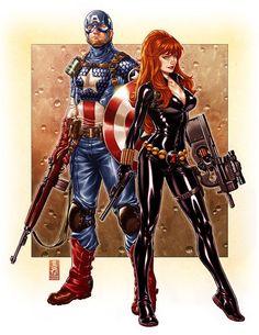 Captain America and Black Widow - Mark Brooks