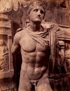 Statue of Patroclos , from the Temple of Hephaistos,Athenes , photo ca 1870 Roman Sculpture, Pottery Sculpture, Modern Sculpture, Sculpture Art, Ancient Romans, Ancient Art, Ancient History, Greek History, Art History