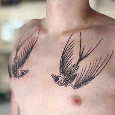 Skeleton Swallow Tattoo