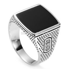 925 sterling Silver ring Black enamel and white Cubic Zirconia S--3783 sz#7 8 9 10 11 Exquisite Gift Noble Generous Rave reviews