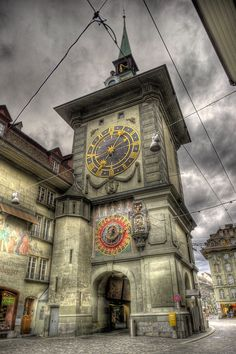 ~The Zytglogge Tower, Bern, Switzerland - a landmark medieval tower built in the early 13th century, it has served the city as guard tower, prison, and 15th-century astronomical clock~ #switzerland #bern #zytglogge