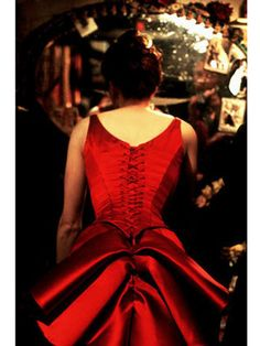Satine's red lace up number worn by Nicole Kidman in Moulin Rouge!