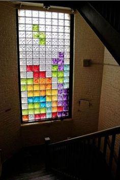 Tetris stained glass window