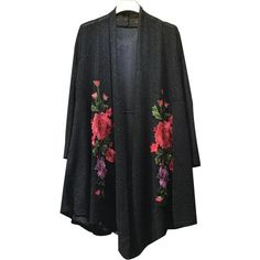 Floral Embroidered Knitted Kimono Cardigan (34 CAD) ❤ liked on Polyvore featuring tops, cardigans, cardigan top, cardigan kimono, kimono top and kimono cardigan