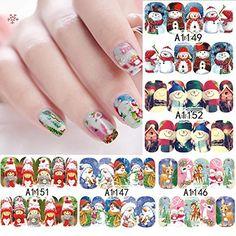 Moonuy 12 feuilles plein Wrap Noël flocons de neige Xmas nail art Stickers Autocollants Autocollants à Ongles Nail Art Stickers Manucure…