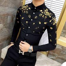 7117ec7cab Los hombres Visten Camisa con Estampado de Oro Negro Blanco de Lujo Del  Diseñador de Moda Camisa de Manga Larga Camisas de Los Hom…
