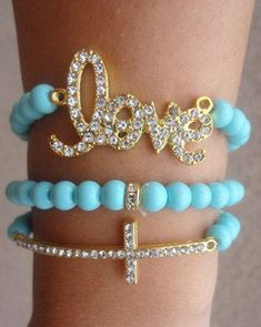 Tiffany blue arm candy set by SavvyStuds on Etsy, $12.00