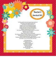 Prayer/ poem for teacher survival kit Student Teacher Gifts, New Teachers, Teacher Appreciation Gifts, Teacher Stuff, Student Teaching, Survival Kit For Teachers, Teacher Survival, Future Classroom, School Classroom