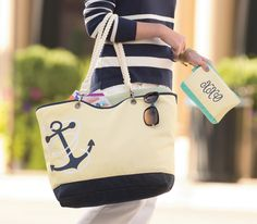 AHOY MATEY! Our Canvas Crew tote comes ready to set sail. Add the optional rope straps for a seaside feel Available Dec.30th