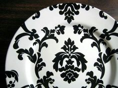 Find this Pin and more on Damask by marygalofre. & Black on White Damask Exotic Wallpaper Scroll Decorative Plate A ...