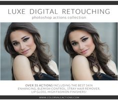 Photoshop Actions:  Luxe Digital Retouching Photoshop Actions Only in this set can you give a client a full (or light) makeover in less than ten minutes. These actions are necessary for any portrait or wedding photographers. Your clients are already beautiful… now you can enhance their beauty – easily! #digitalretouching #photoshop #photoshopactions #photography #colorvale Photoshop Actions For Photographers, Photoshop Photography, Portrait Photography, Portrait Retouch, Ten Minutes, Time Photo, Perfect Skin, Photoshop Tutorial, Photography Business