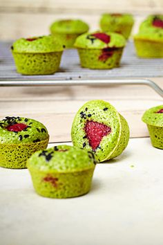 Raspberry Matcha Muffins