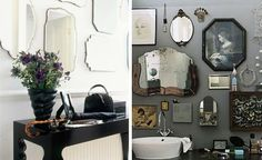 Love this grey painted bathroom with antique mirrors mixed in with other quirky wall art - it adds so much personality and character to display the things that you love in your home.