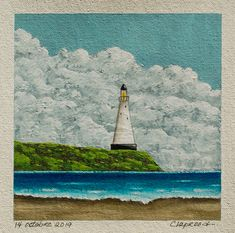 Lighthouse painting, Seascape painting, Coastal artwork, Nautical art, Hand painted art, 6x6 inches acrylic painting, Art within 11x14 mount Small Paintings, Seascape Paintings, Etsy Handmade, Handmade Gifts, Original Artwork, Original Paintings, Lighthouse Painting, Nautical Art, Hand Painting Art