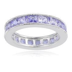 Journee Collection Sterling Silver Cubic Zirconia Band (5mm) (Purple, Size 10), Women's