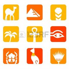 Vector collection of Egypt icons - pyramid, camel, scarab, anubis, obelisk, cat etc.