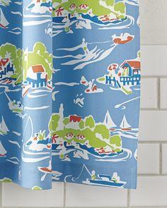 Blue Toile Shower Curtain