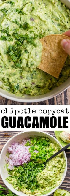 This Chipotle Guacamole recipe is the real deal. With just seven ingredients and a few minutes, enjoy as much Chipotle Guacamole at home as you can mash! Chipotle Guacamole Recipe Copycat, Salsa Guacamole, Chipotle Recipes, Avocado Recipes, Mexican Food Recipes, Healthy Recipes, Ethnic Recipes, Chipotle Chicken Copycat, Homemade Guacamole