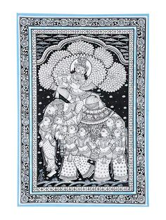 Kandarp Haathi Pattachitra Artwork on Canvas x Black Canvas Paintings, Pichwai Paintings, Indian Art Paintings, Mural Painting, Watercolor Painting, Indian Artwork, Watercolor Artists, Abstract Paintings, Landscape Paintings