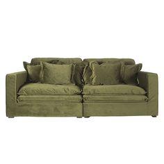 Slouch 2 Seater Velvet Sofa Moss Green