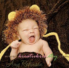 Little Lion Baby Bonnet REVERSABLE PreemieNewborn by kreativkris, $17.00