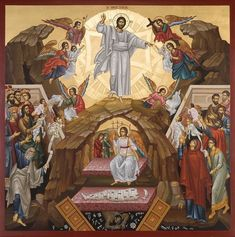 Two episodes, one icon. Resurrection, message of the Angel to the Myrrhbearer Women. Epistle of Paul to Corinthians, chapter Orthodox Catholic, Orthodox Christianity, Catholic Art, Byzantine Icons, Byzantine Art, Religious Images, Religious Art, The Transfiguration, Christian Artwork