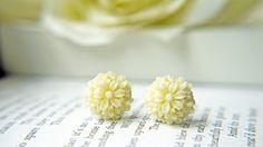 Cream White Petite Flower Bouquet Post Earrings by KaoriKaori, $13.00