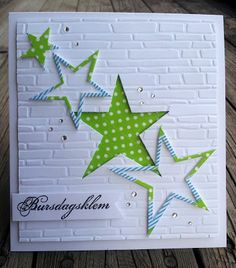 handmade card ... Unni`s Korta ... die cut stars on white brick-textured background ... luv the variety of die cutting ...