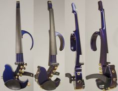 """This Jordan electric violin is a rare bird, indeed! It's amplified with an original Zeta Jazz bridge, and wired for both standard 1/4"""" and 8-pin MIDI outputs.* This instrument has a detachable upper bout, and is finished in a beautiful red/blue harlequin, the color shifts and changes with the angle of the light."""