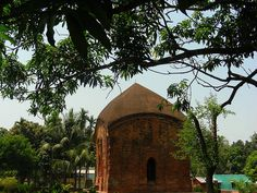 Impressive ruins of an ancient terracotta temple in Bengal (Nodia district ), now protected by archeological survey of India. It is made in Charchala architectural style resembling a mud thatched roof hut of the region .