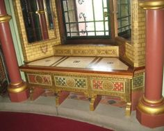 William Burges Gothic Revival painted gilded sideboard cabinet for Lady Bute's bedroom at Castell Coch furniture