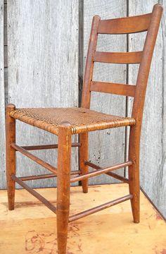Antique Ladderback Wood Chair Herringbone by MomsantiquesNthings, $100.00