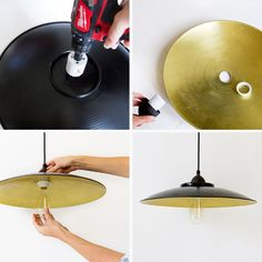 """Supplies I used for this are: 1. this dish, 2. pendant kit, 3. a power drill, 4. a 1.75"""" hole saw, 5. a pretty antique style bulb."""