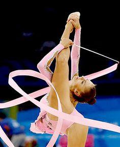 Evgenia Kanaeva, Russia, Ribbon at the Beijing Olympics 2008, where she won Gold in the Individual All-Around. :)