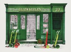 David Gentleman, 'Ellen Keeley's Shop' I love DG and had never seen this before. Landscape Drawings, Watercolor Landscape, Landscape Paintings, Watercolour, Landscapes, Collage Illustration, Digital Illustration, David Gentleman, Glasgow School Of Art