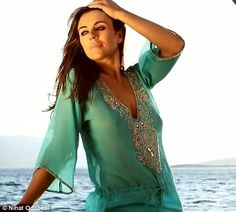 Elizabeth Hurley's 2013 swimwear collection turquoise sequin-embellished kaftan
